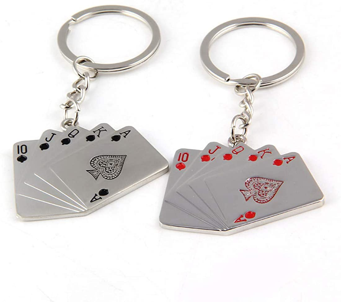 Funny live 2 Pcs Playing Cards Keychain Poker Keychains for Men Key Ring Playing Card Key Pendant for Phones Bag Gift Decoration