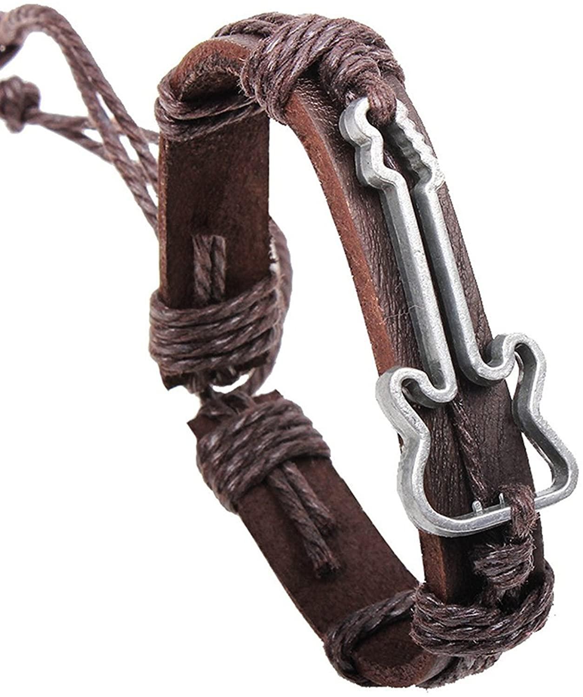 Xusamss Punk Alloy Guitar Pattern Leather Drawstring Rope Bracelet