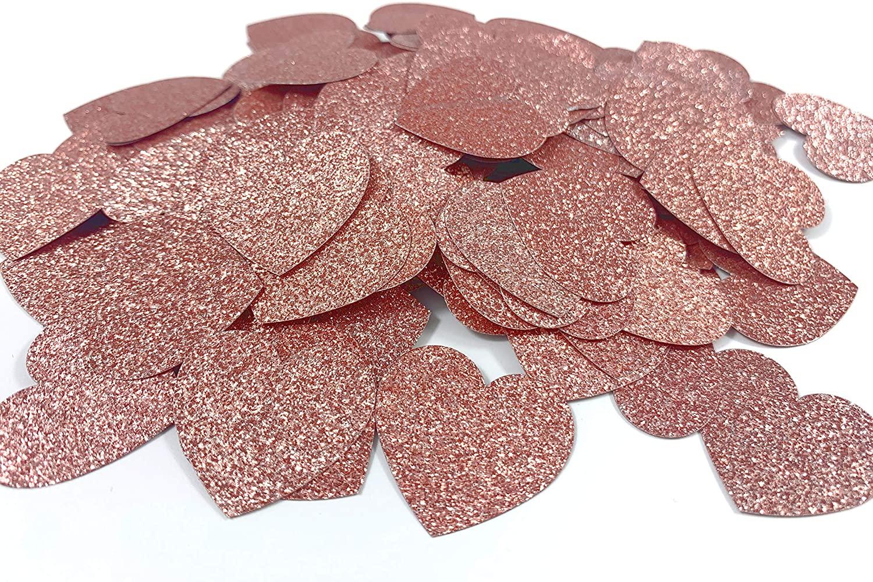 200pcs Heart Romanitc Glitter Paper Confetti, Party Table Floor Decoration, 1.18in, Rose Gold¡