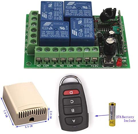 12V 4CH Channel Relay Wireless Remote Control ON/OFF Switch Transmitter Receiver (315MHZ)
