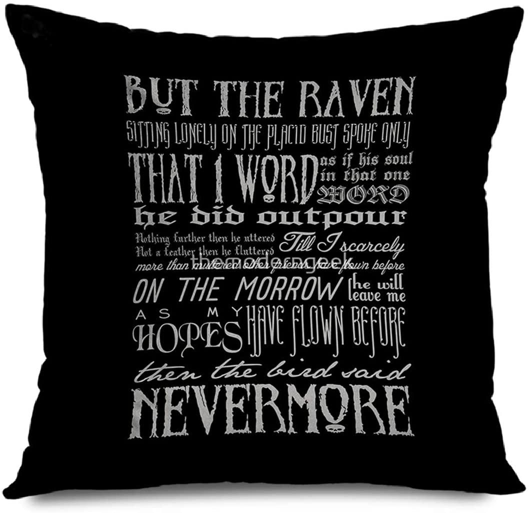 Onete Decorative Throw Pillow Cover Square 18x18 Inches Edgar Allan Poe Raven Typography Cushion Case Home Decor Zippered Pillowcase
