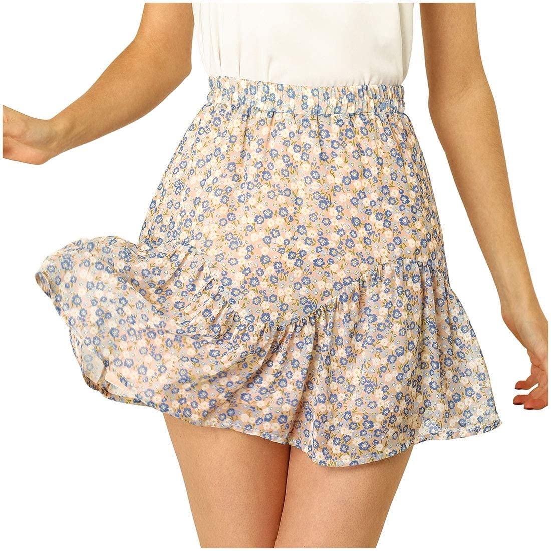 Allegra K Women's Ditsy Floral Ruffle Skirt A-Line High Waisted Short Mini Skirts