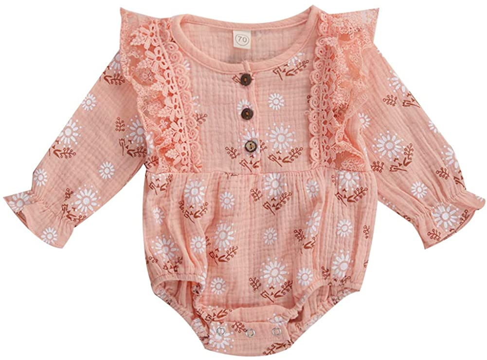 Infant Baby Girls Autumn One Piece Playsuit Long Sleeve Daisy Floral Lace Ruffle Romper Jumpsuit