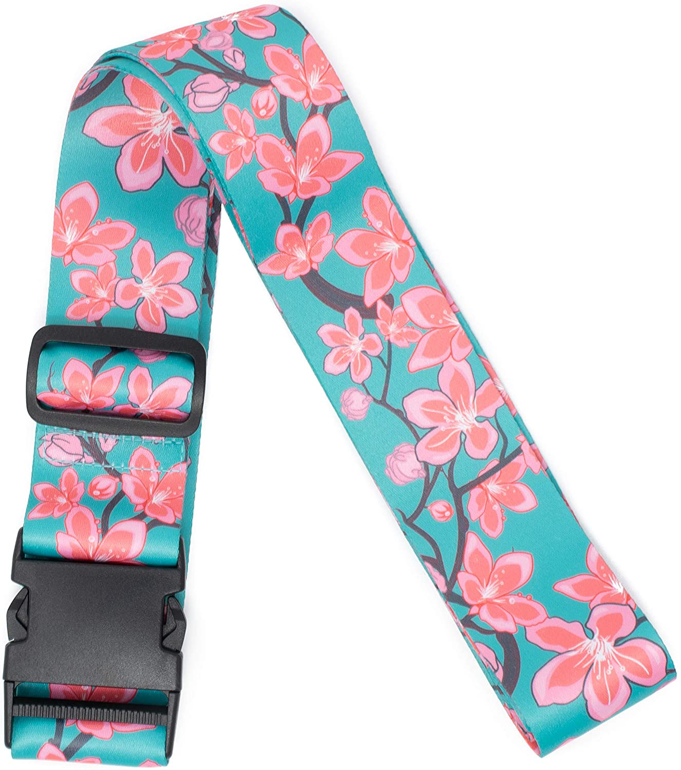 Teal Cherry Blossoms Luggage Straps Suitcase Belt by Limeloot