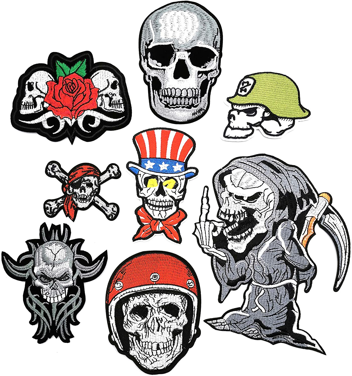 Embroidered Patch Clothes Stickers Cloth Badge DIY Applique Cloth Accessories for Popular Clothing Bag Hat Shoe Notebook, Terror Skull