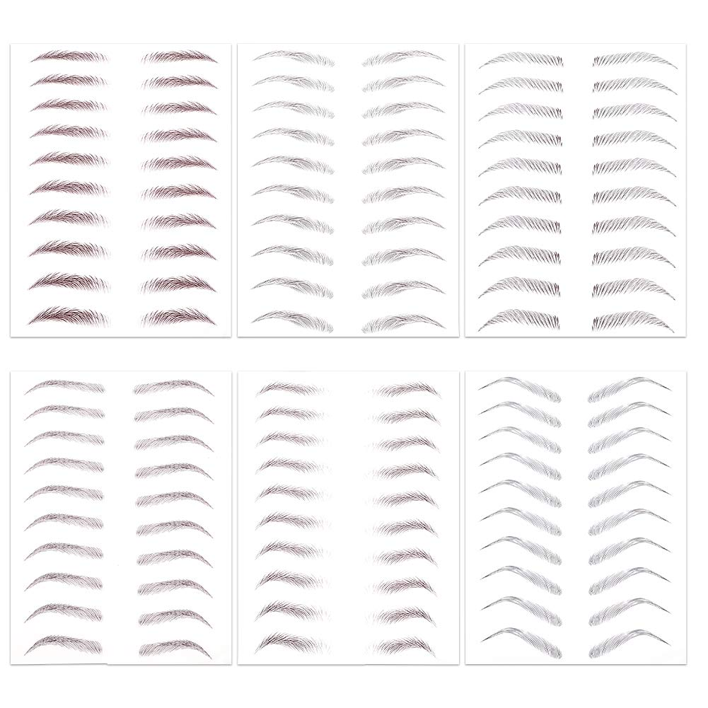 SUSSURRO 6 Sheet 4D Hair-like Authentic Eyebrows Waterproof Natural Eyebrow Tattoo Stickers Grooming Shaping Brow Shaper Makeup,6 Styles