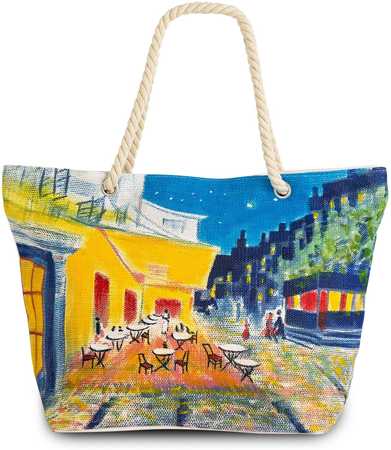Large Beach Bags Hand-Drawn Oil Painting Tote Bag with Zipper Rope Handle