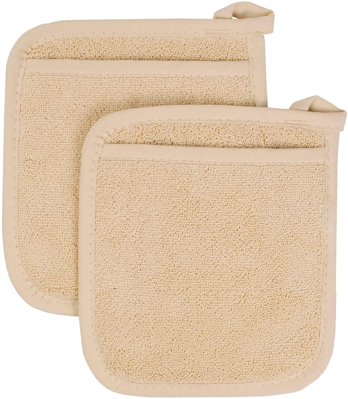 Ritz Royale Collection 100% Cotton Terry Cloth Pocket Mitt Set, Dual-Function Hot Pad/Pot Holder, 2-Piece, Latte
