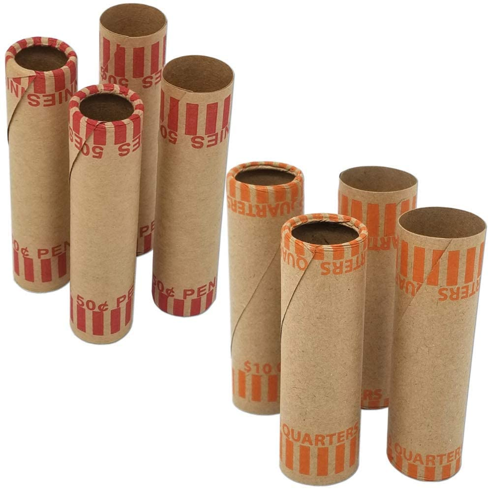 J Mark 40 Count Assorted Cartridge-Style Preformed Coin Roll Wrappers, MADE IN USA, 10 Each of Quarter, Penny, Nickel and Dime Rollers and J Mark Coin Deposit Slip