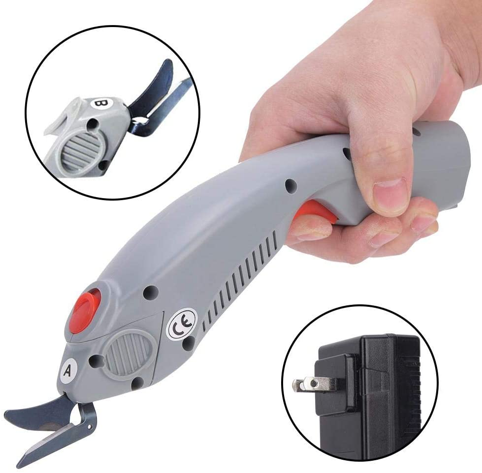 Jadpes Electric Cutting Scissors,Electric Scissors Cutter Fabric Cutting Tool with 2Pcs Replaceable Head,Automatic Rechargeable Cloth Cutting Machine 100-240V