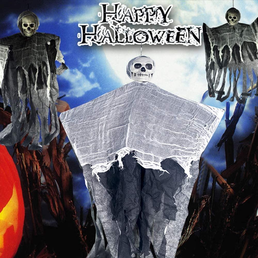 Decdeal Halloween Mini Skull Hanging Ghost Pendant Cloth 2020 New Shocking Bar Props Halloween Decoration Party Decor