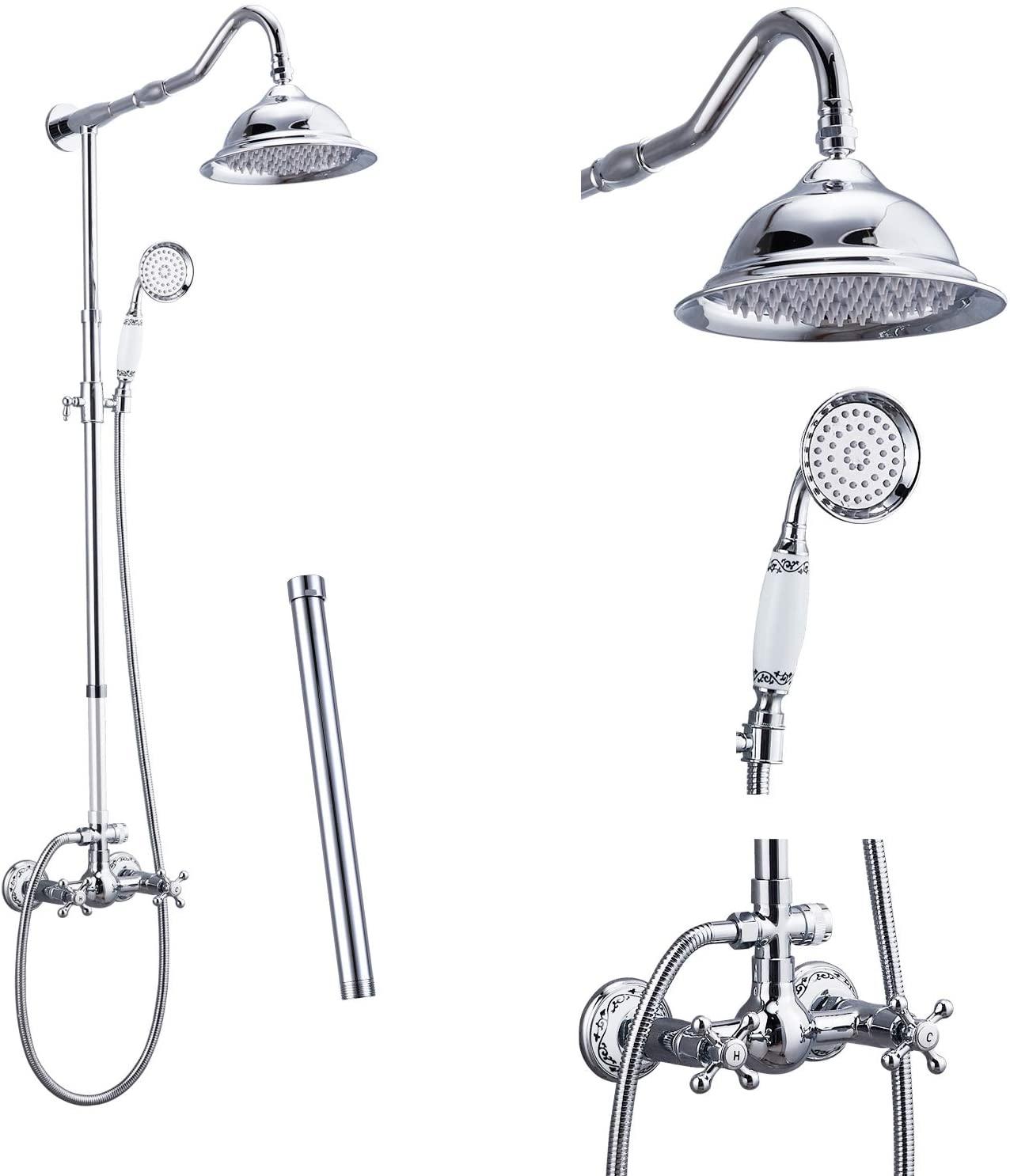 Polish Chrome Shower System Fixture Set Complete 8 Rain Shower 2 Double Knobs Handle Dual Function Shower Faucet Combo Unit Set 12 Inch Extension