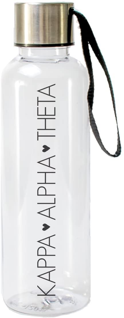 A-List Greek 17 Oz Kappa Alpha Theta Water Bottle, Eco Friendly & BPA-Free AS Plastic Sports Bottles with Strap, Sorority Bid Day Gift