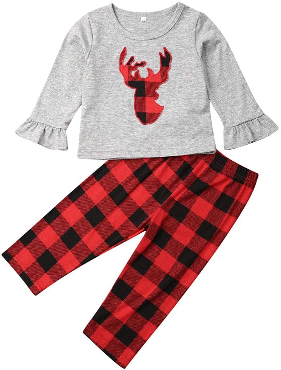 Christmas Baby Girls Clothes Deer Ruffle Long Sleeve T-Shirt Tops Plaid Pants Toddler Autumn Winter Xmas Outfits Set