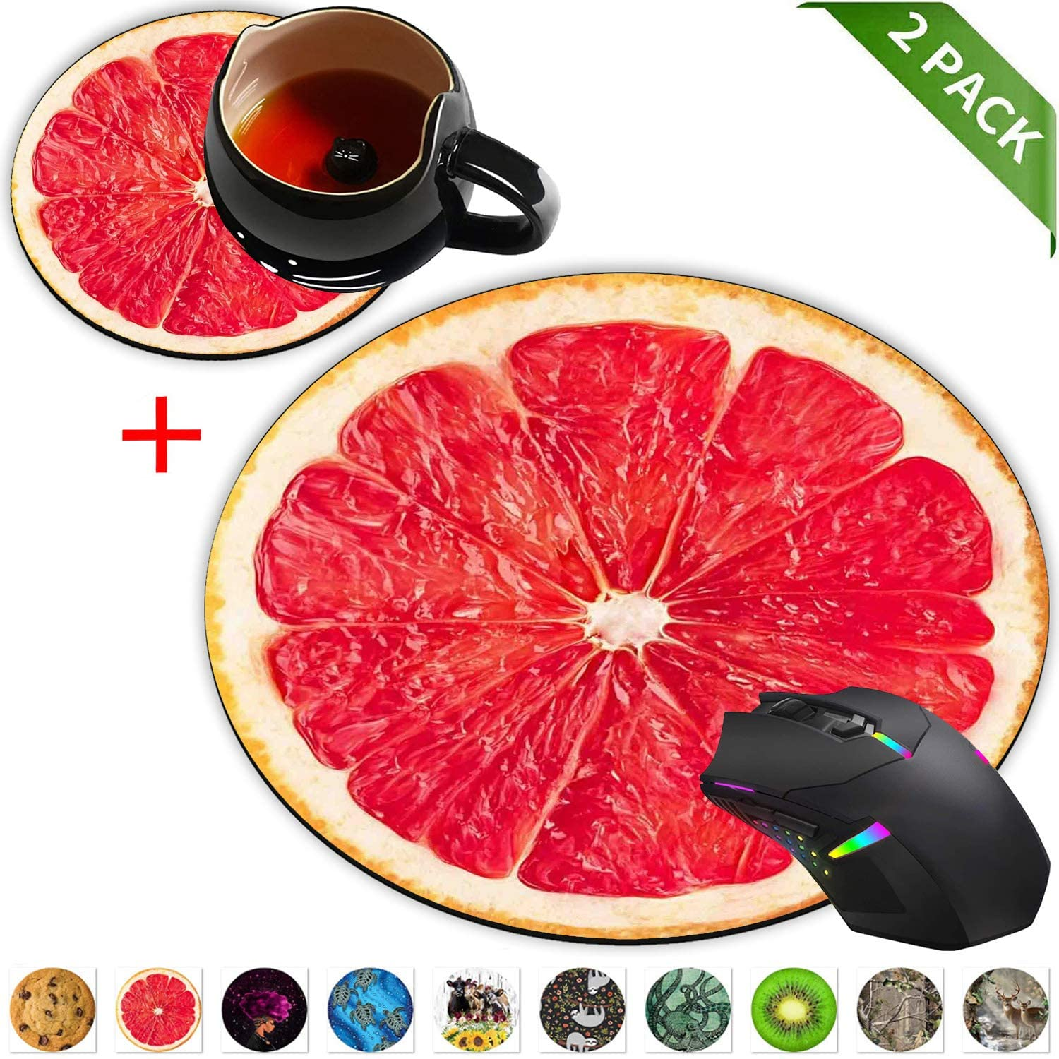 Round Mouse Pad and Coasters Set, Pink ripe Grapefruit Slice Mousepad, Anti Slip Rubber Round Mousepads Desktop Notebook Mouse Mat for Working and Gaming