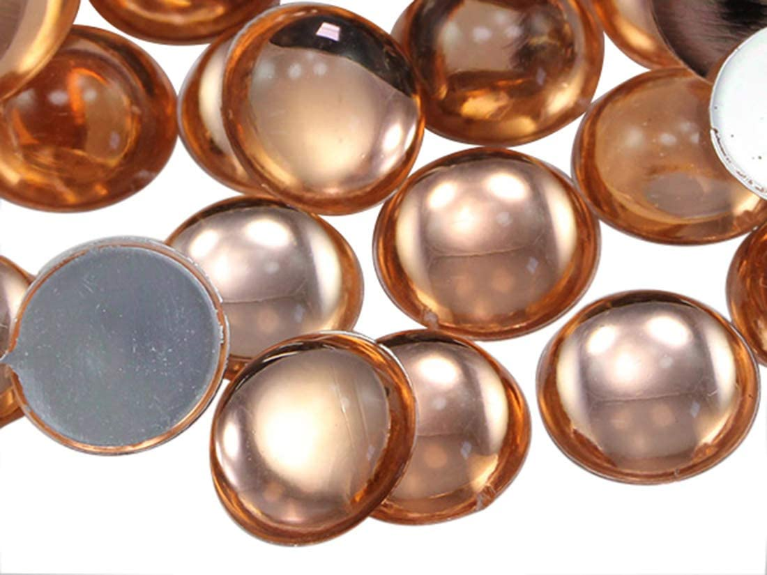 9mm Orange Peach .PCH Flat Back Acrylic Round Cabochon Pro Grade - 75 Pieces