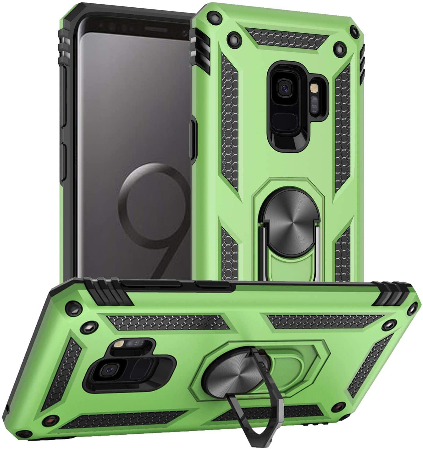 Pegoo Galaxy S9 Case, Shockprooof Impact Resistant Hybrid Heavy Duty Dual Layer Armor Hard Plastic and Soft TPU with a Kickstand Bumper Protective Cover Case for Galaxy S9 (Light Green)