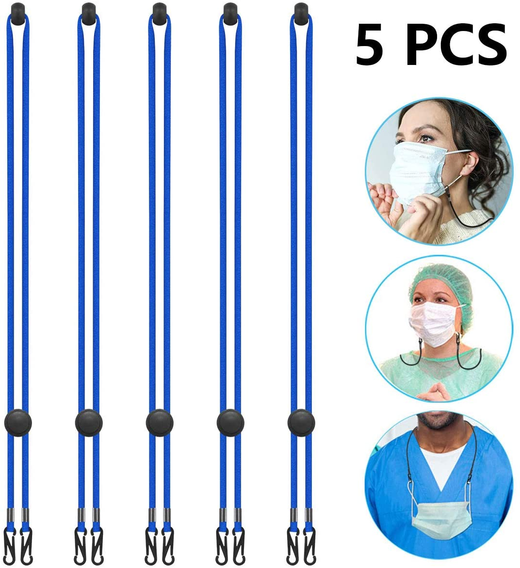 Kids Adults Face Mask Color Lanyards, Adjustable Breakaway Lanyard with Safety Breakaway Clasp - Ear Saver Holder for Child Adults Size Facemasks Lanyard(5 Pack, Blue)