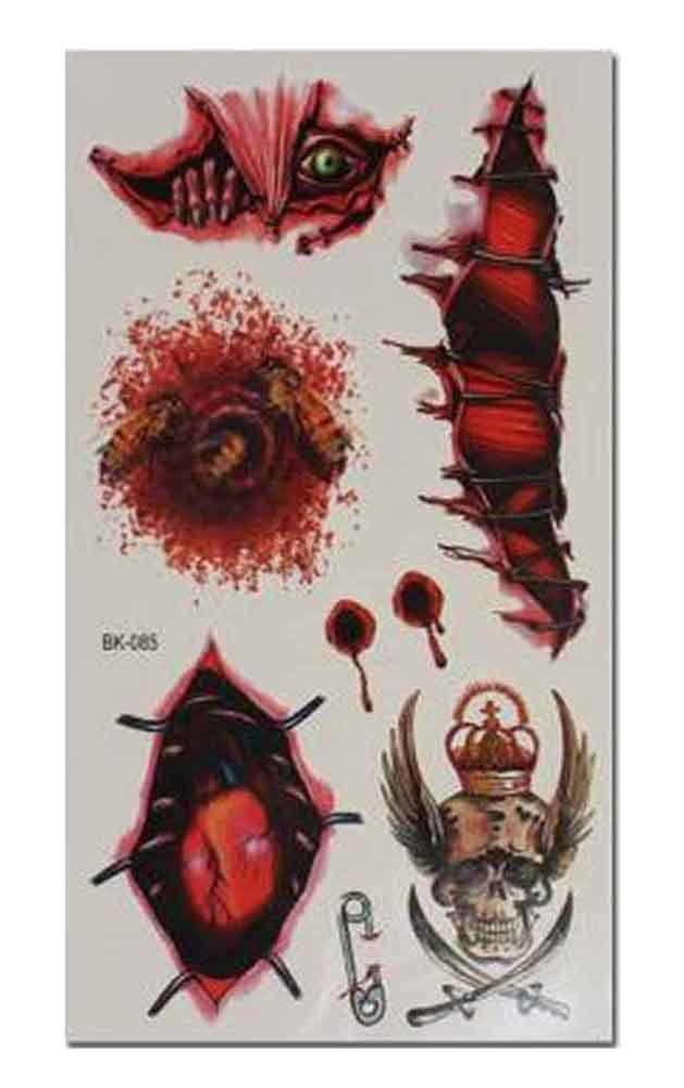 Set of 8 Halloween Scared Tattoo Stickers, Disposable and Waterproof [Q]