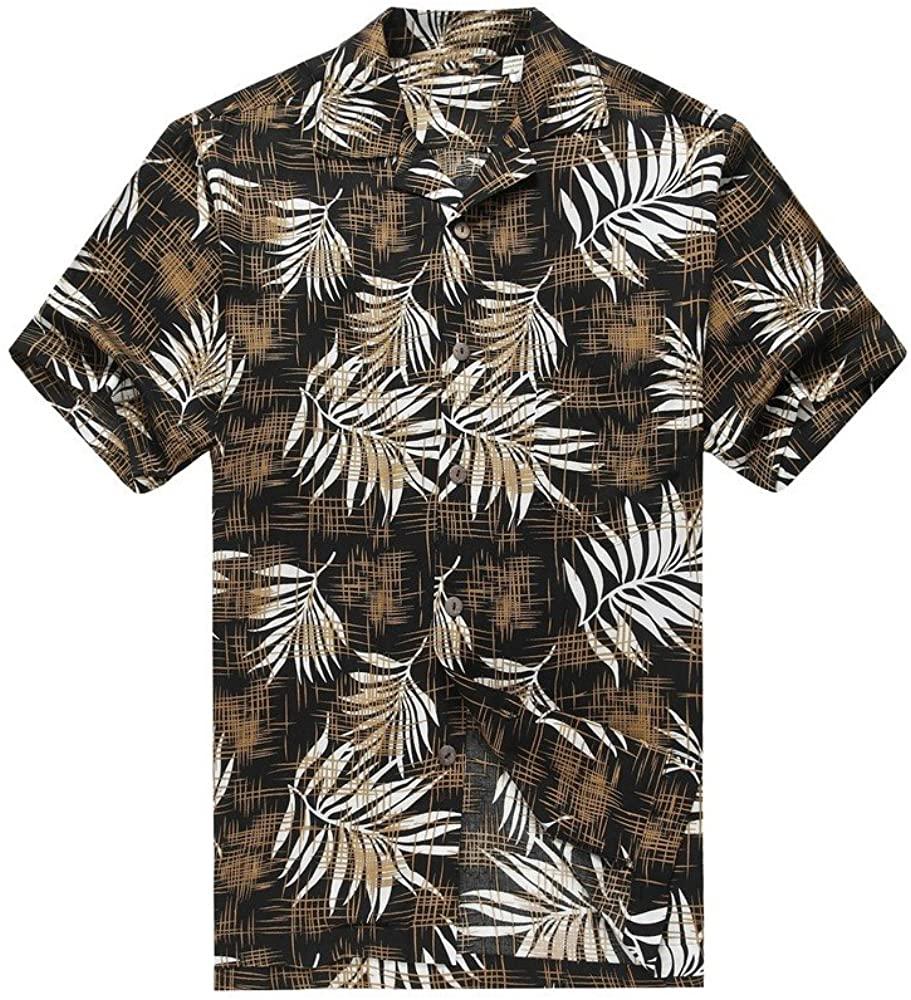Hawaii Hangover Men's Hawaiian Shirt Aloha Shirt Breadfruit Leaves in Black