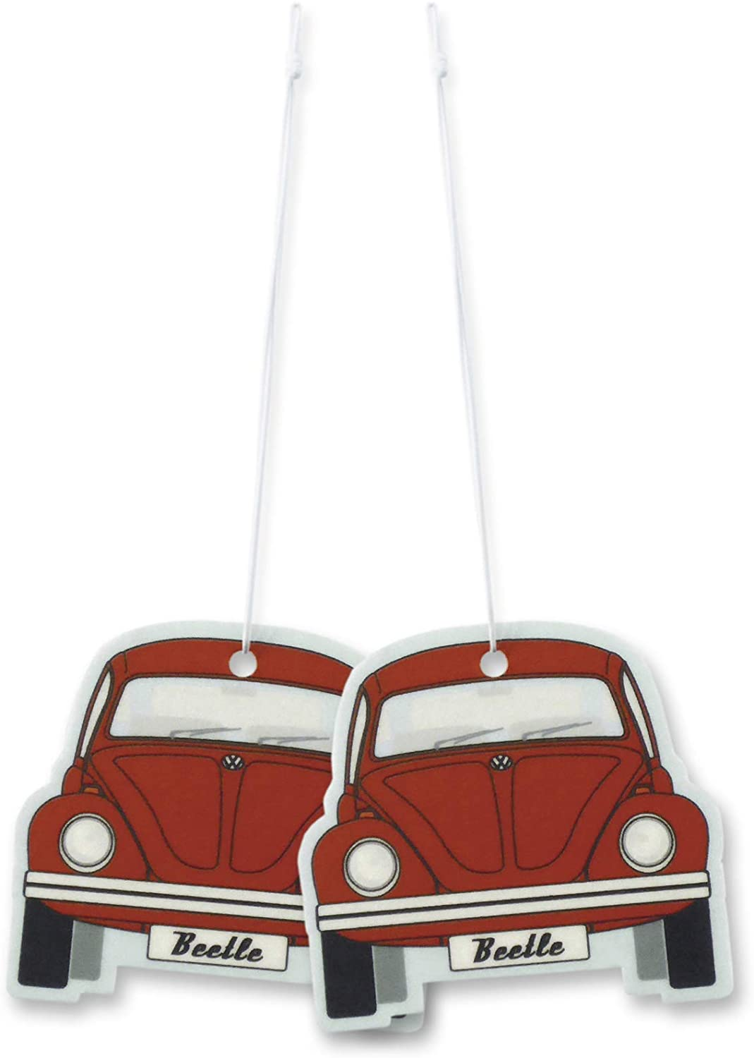 BRISA VW Collection - Volkswagen Scented Car Air Freshener Fragrance Deodorizer for Car/Auto or Home with Volkswagen Beetle/Bug Front Design (Melon/Red/2-pc Set)