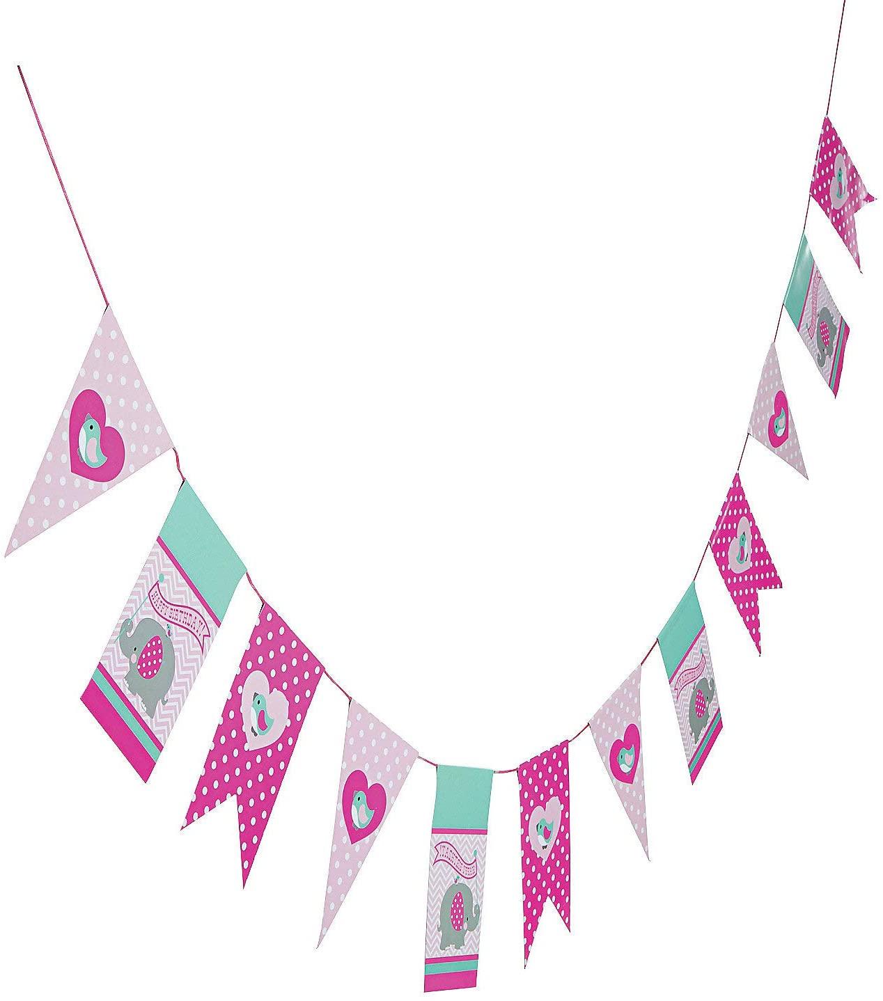 Fun Express - 1st Pink Elephant Birthday Garland for Birthday - Party Decor - Hanging Decor - Garland - Birthday - 1 Piece