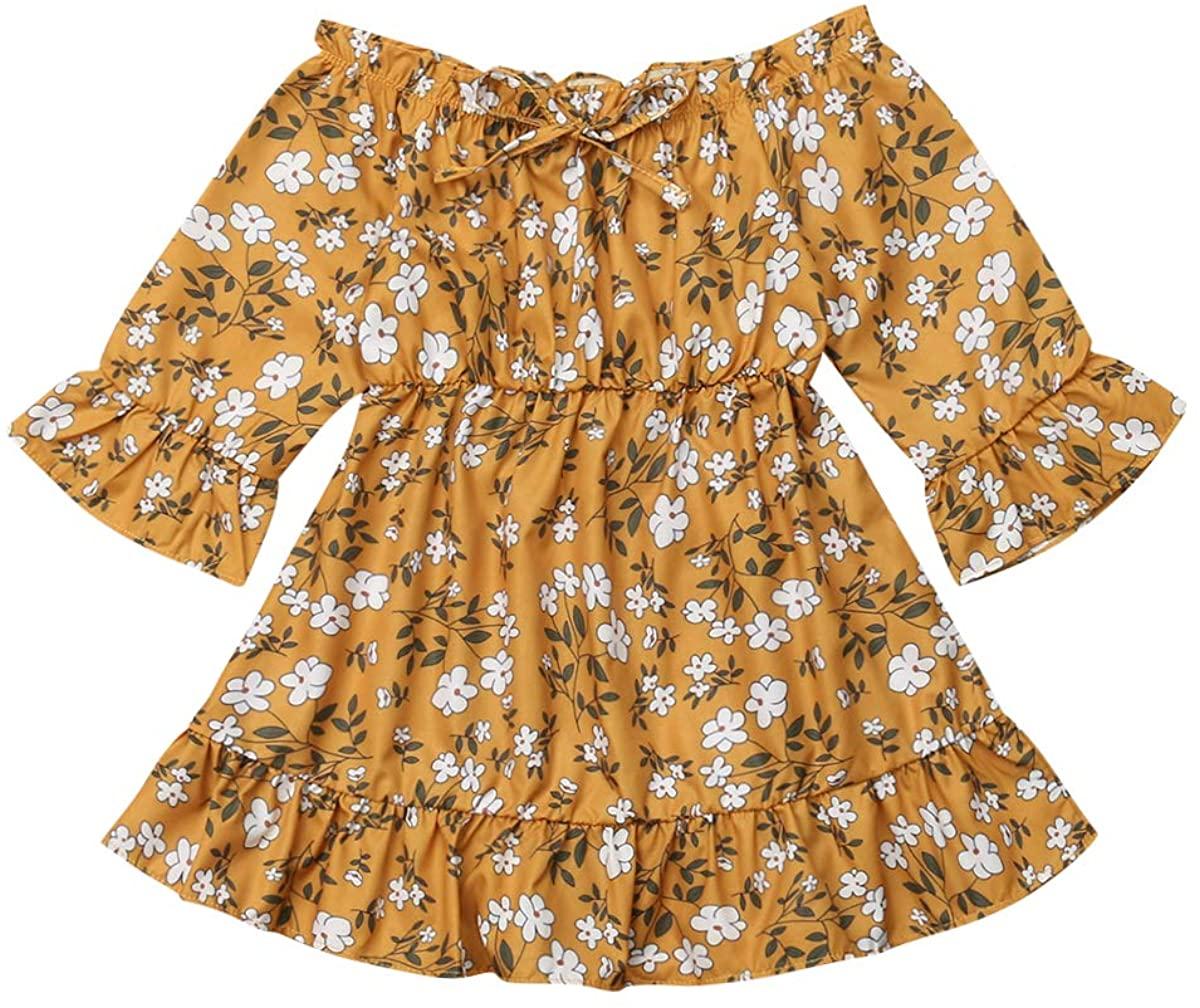 MysterLuna Toddler Girls Long Sleeve Floral Dress Off Shoulder Long Sleeve Midi Dress