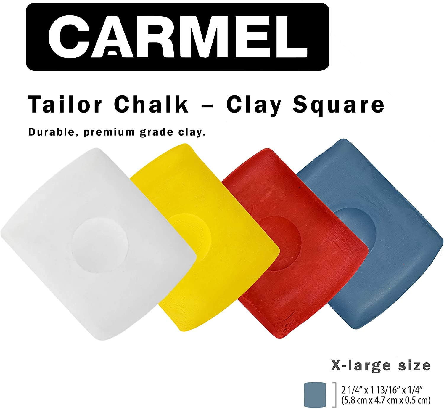 Carmel Square Clay Tailor Chalk, Premium Grade Clay Chalk for Marking Textiles (Mixed Colors, Box of 20)
