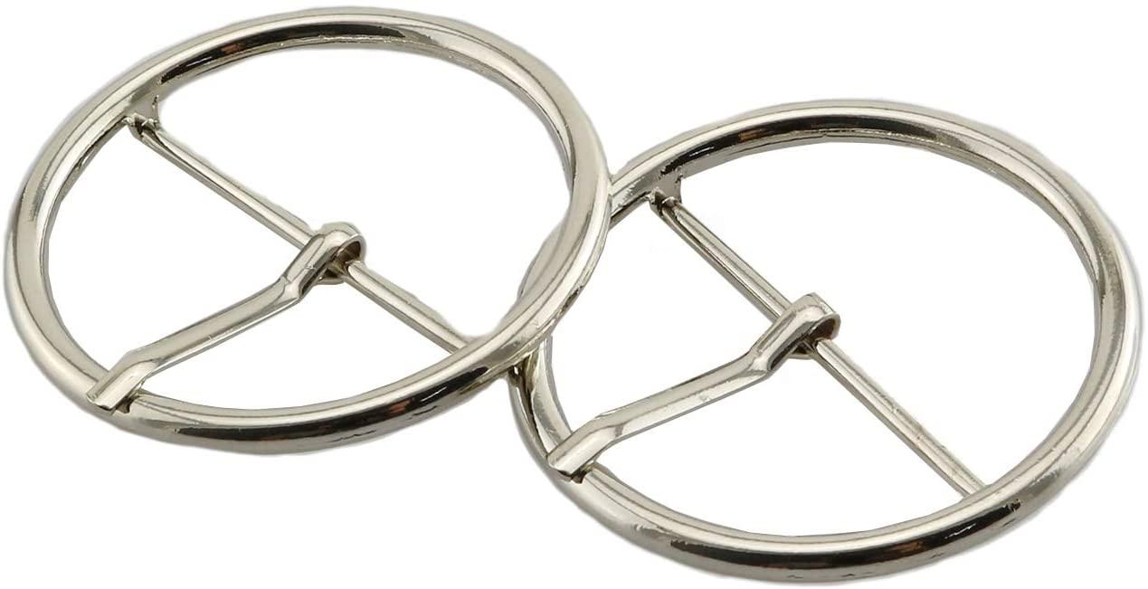 Batino 12pcs Round Slide Buckle Metal Center Bar Webbing Strap Buckles Slider DIY Accessories Silver 3cm