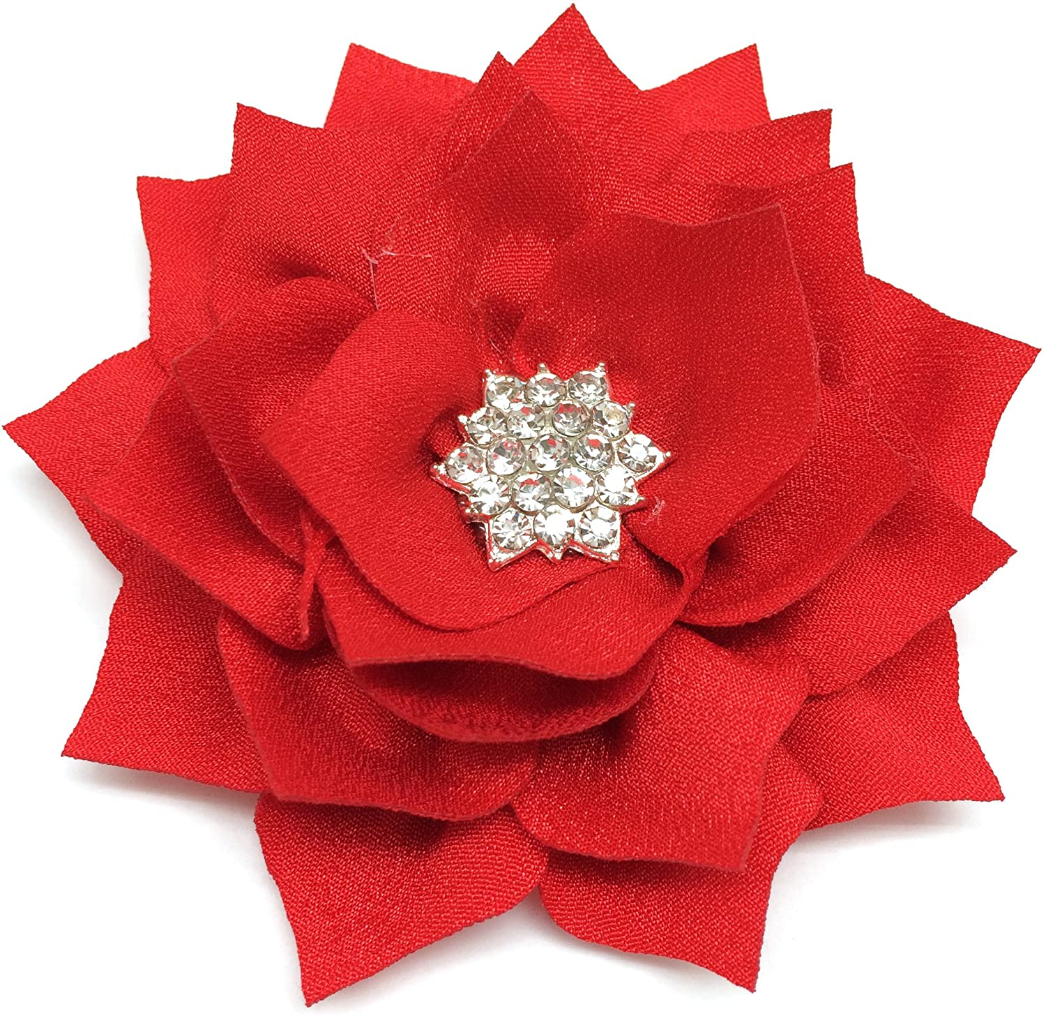 PEPPERLONELY 10PC Set Red Flat Back Rhinestone Button Center Fabric Flowers, 3 Inch
