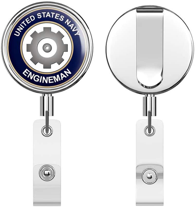 US Navy Engineman EN Round ID Badge Key Card Tag Holder Badge Retractable Reel Badge Holder with Belt Clip