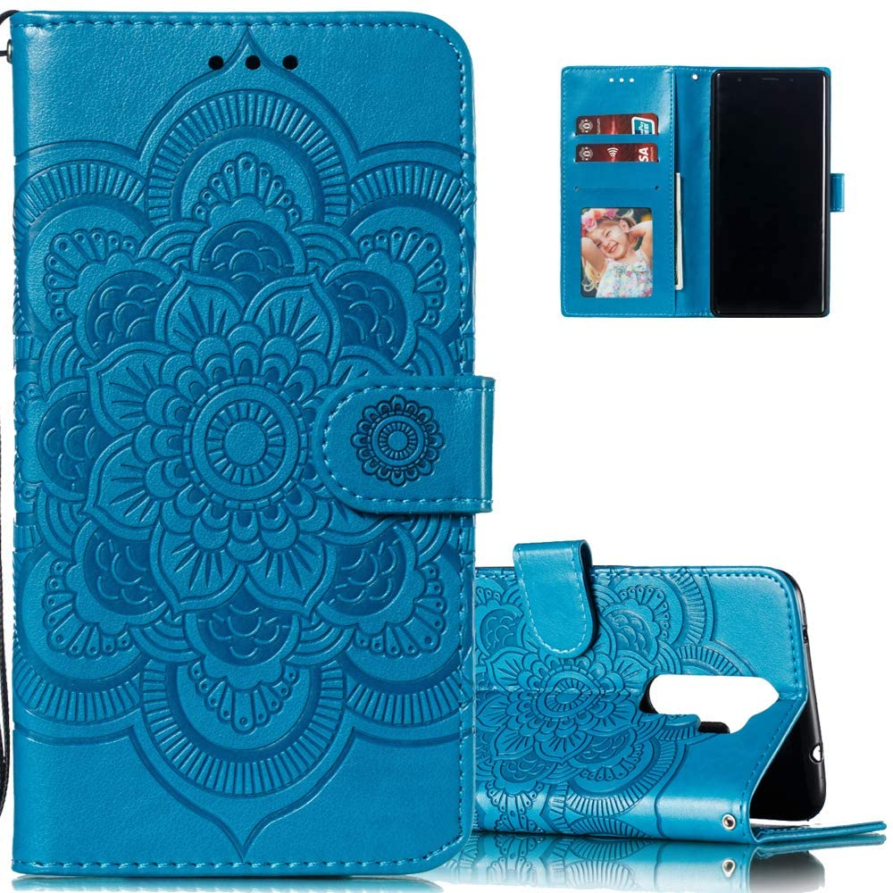 LEECOCO for Redmi Note 8 Pro Case Mandala Embossing Luxury PU Leather Flip Notebook Wallet Bookstyle Magnetic Stand Card Slot Folio Bumper Protection Cover for Xiaomi Redmi Note 8 Pro Mandala Blue LD