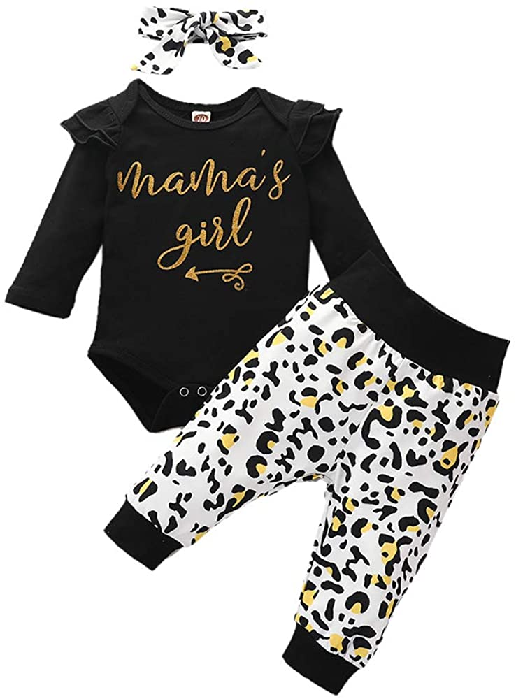 Newborn Baby Girls Cute Clothes 3Pcs Long Sleeve Letters Romper Top Pants Headband Fall Winter Outfits Set