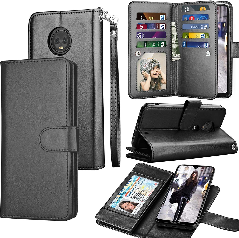 Moto G7 Case, Motorola Moto G7 Plus/T-Mobile Revvlry+ Plus Wallet Case, Tekcoo Luxury ID Cash Credit Card Slots Holder PU Leather Carrying Folio Flip Cover Cases [Detachable Magnetic Case] [Black]