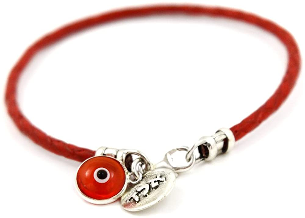 Women's Red Leather Bracelet with 72 Names of God Protection Sterling Silver Charm