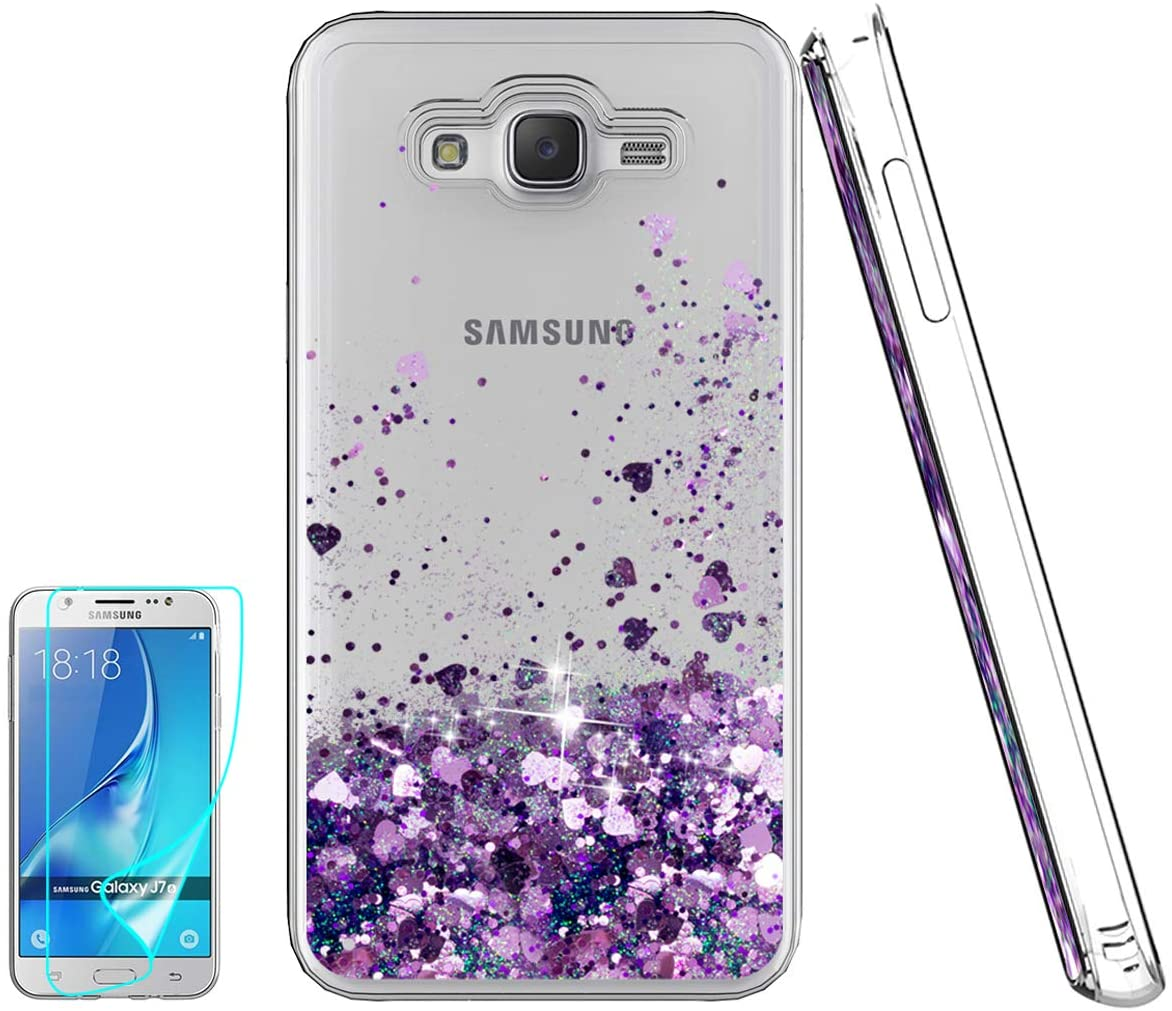 J7 Case,Galaxy J7 Case with HD Screen Protector for Girl,Atump[Love Heart Series] Liquid Glitter Bling Sparkly Soft TPU Bumper Clear Quicksand Cases Woman Gift Cover for Samsung J7 J700 2015 Purple