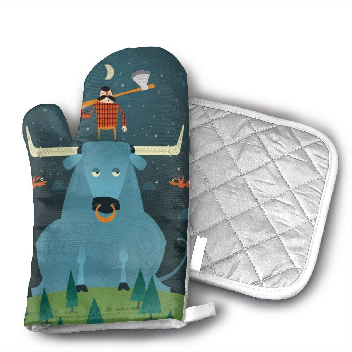 Paul Bunyan and His Blue Ox Oven Mitts and Potholders (2-Piece Sets) - Kitchen Set with Cotton Heat Resistant,Oven Gloves for BBQ Cooking Baking Grilling