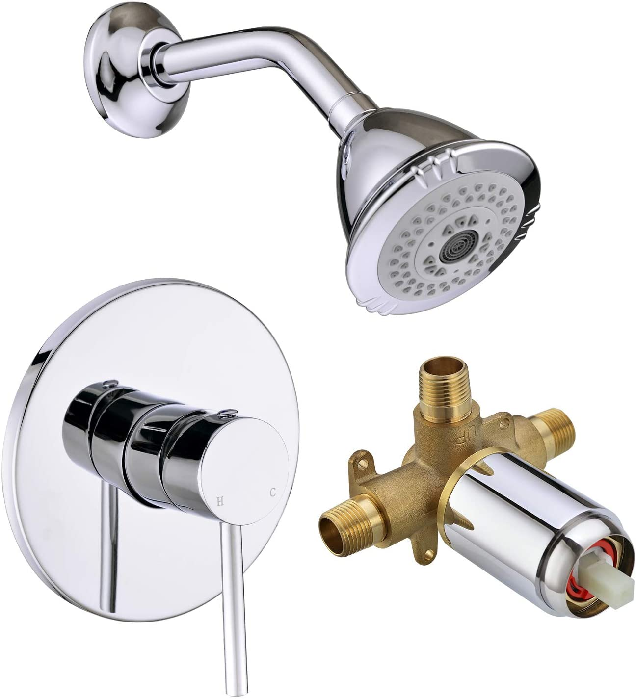 BESTILL Wall Mounted Shower Faucet set, Shower Trim Kit with Pressure Balance Rough-in Valve and Shower Head, Polished Chrome