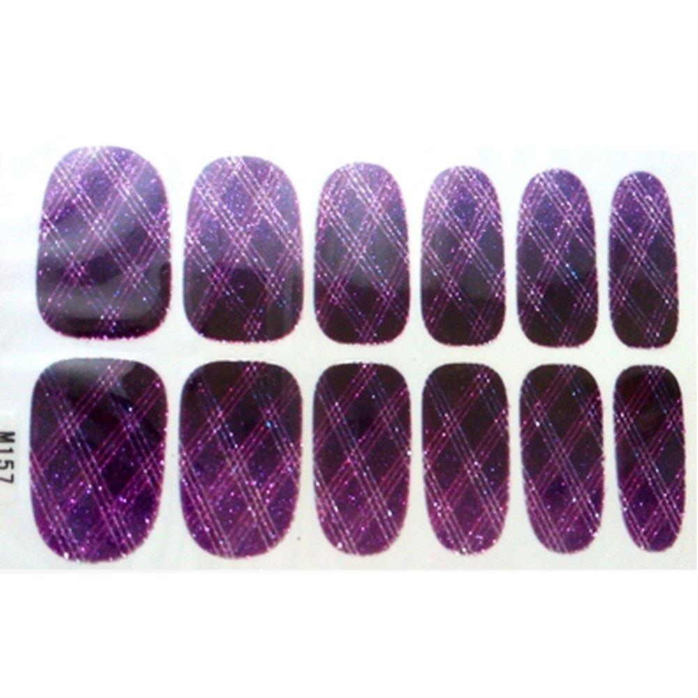 Set of 6 Stylish Bright Gradient Glittery Nail Art Stickers, Dark Purple