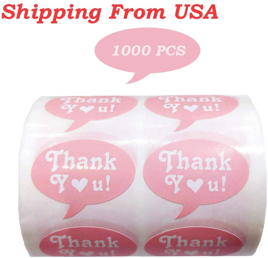 Remarkable Pink Thank You Stickers,1.5