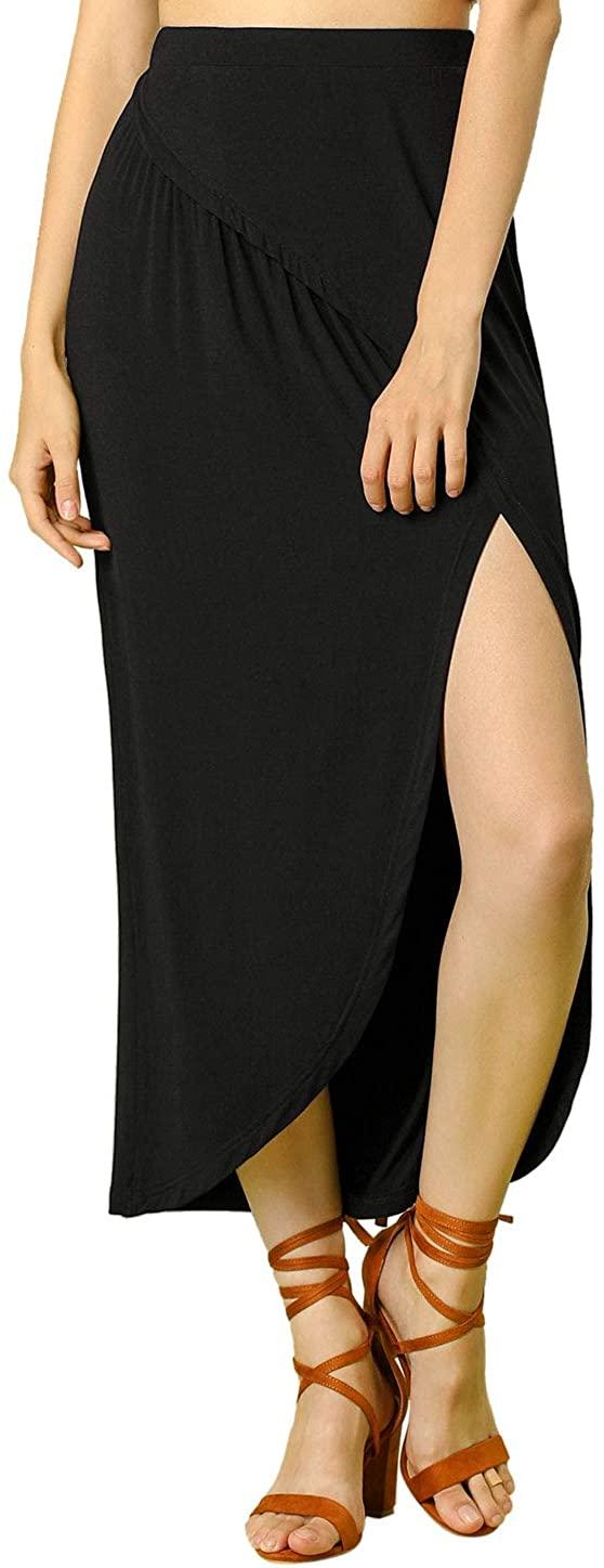 Allegra K Women's Side Split Elastic Waist Casual Long Maxi Skirt