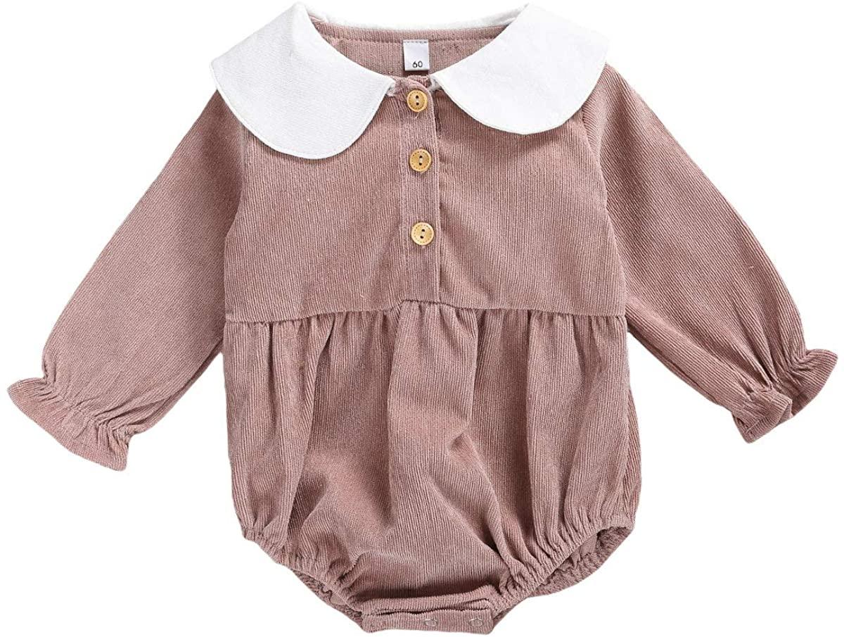 AmbabeOnline Newborn Baby Girls Romper Corduroy Long Sleeve Jumpsuit Cute Doll Collar Bodysuit Pajamas 0-12M Fall Outfits