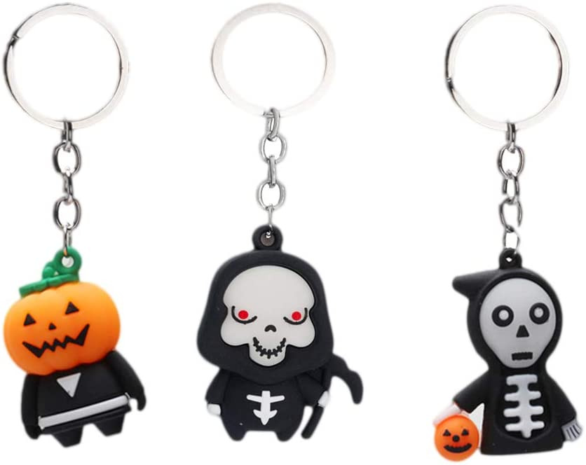 NUOBESTY Halloween Ghost Shaped Key Rings 3D Cartoon Keychain Hanging Keychain, 3 Pieces