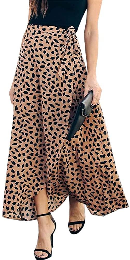 Ofenbuy Womens Wrap Maxi Long Skirt Polka Dot Side Split High Waist Elegant Summer Casual Skirts