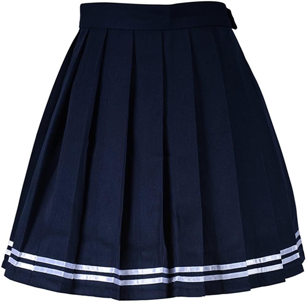 Smilice Women High-Waisted Pleated Mini Skirts Girls Skater Tennis School Skirt