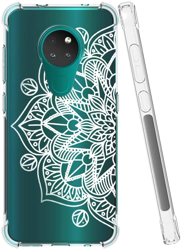 Gufuwo Flowers Clear Slim Designed for Nokia 7.2 Case/Nokia 6.2 Case, Shock-Absorption Floral Flexible Soft TPU Rubber Protective Cover for Nokia 7.2/Nokia 6.2 (Mandala)