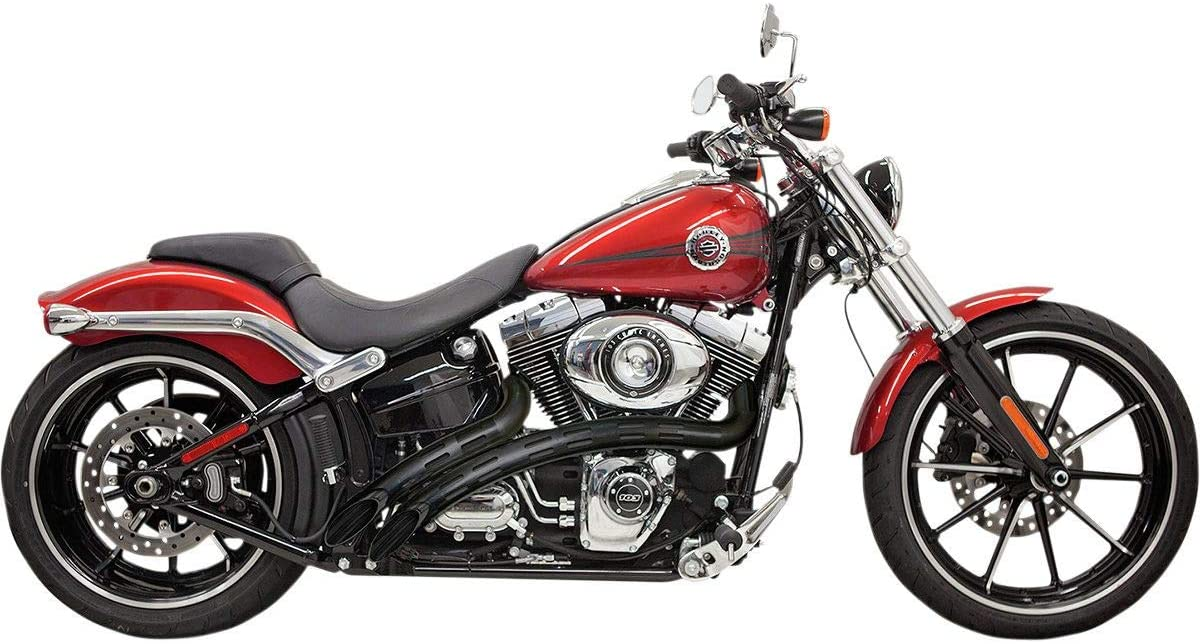 Bassani Xhaust Radial Sweepers Exhaust (Black with Black Slotted Heat Shield) for 88-17 Harley FLSTC