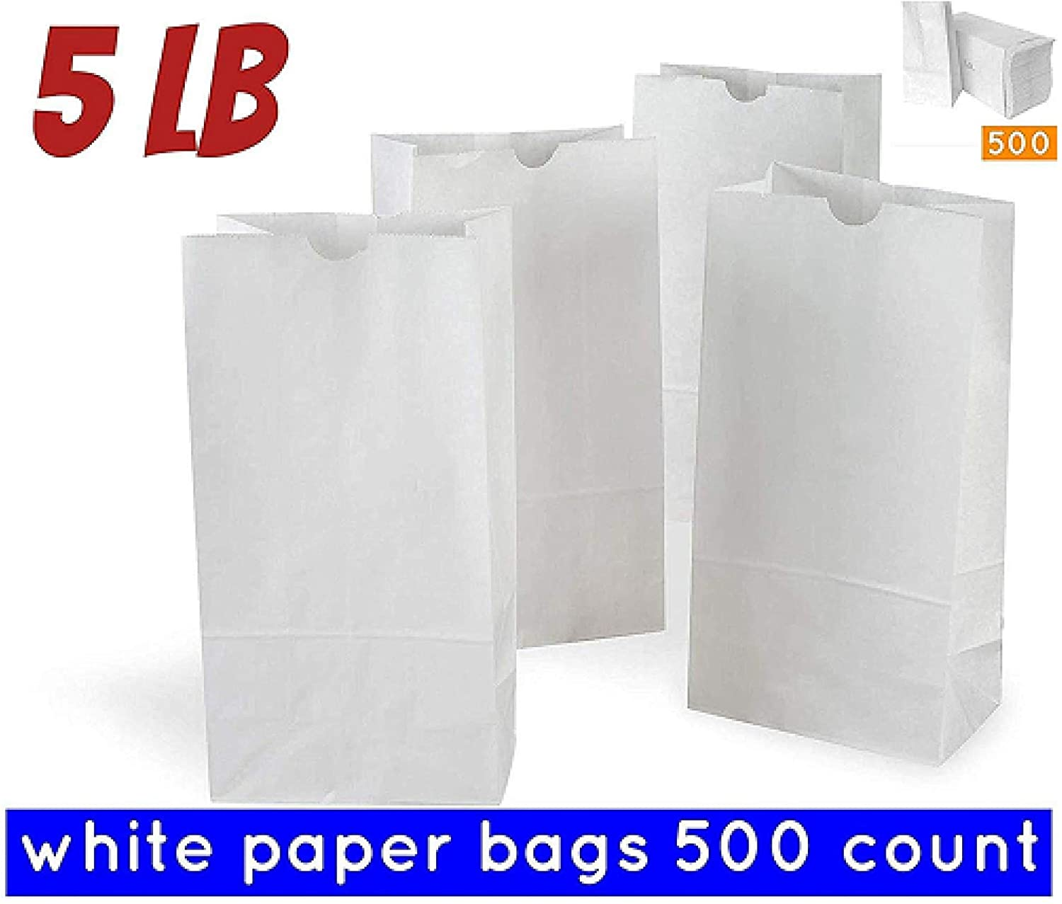 5 Pound White Paper Bag Pack of 500 White Kraft Paper Bags Great for Crafts, Lunch Bags, Party Bags, Envelopes White Lunch Bags white sandwich bags paper Variety of Sizes Available