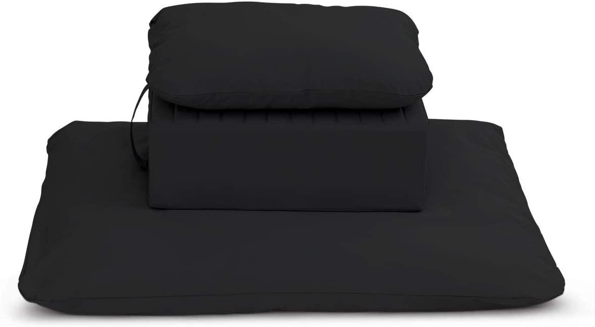 Samadhi Cushions Gomden and Zabuton Meditation/Yoga Cushions with Support Pillow Set of 3 (Black)