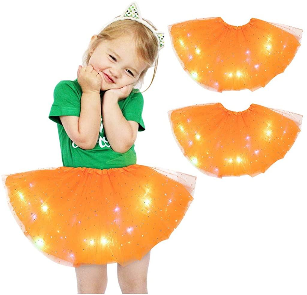 2 PCS Girl's Tutu Skirt LED Light Up Multilayer Tulle Fluffy Princess Dancing Skirt Petticoat Ballet Underskirt, 2-8T